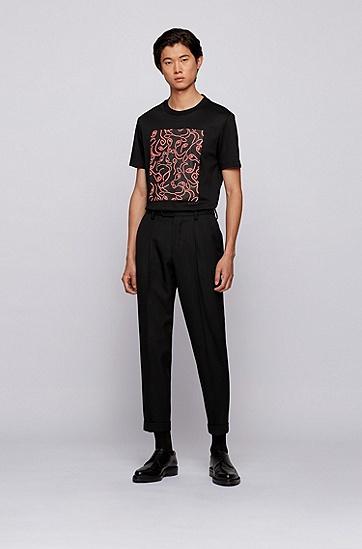 牛头艺术图案修身版棉质 T 恤,  001_黑色