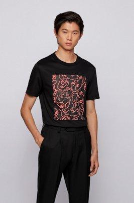 Slim-fit T-shirt van katoen met kunstzinnig ossenkopdessin, Zwart