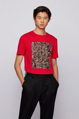 Slim-fit T-shirt in cotton with ox-head artwork, Red