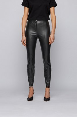 High-waisted slim-fit trousers in faux leather, Black