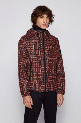 Packable windbreaker jacket with all-over motif, Dark Blue