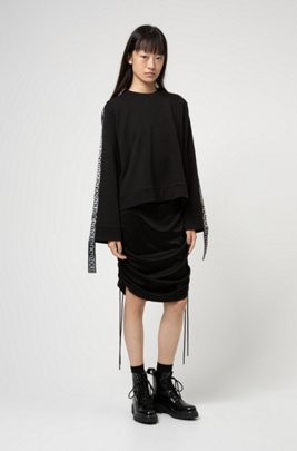 Tube dress in lustrous jersey with adjustable length, Black