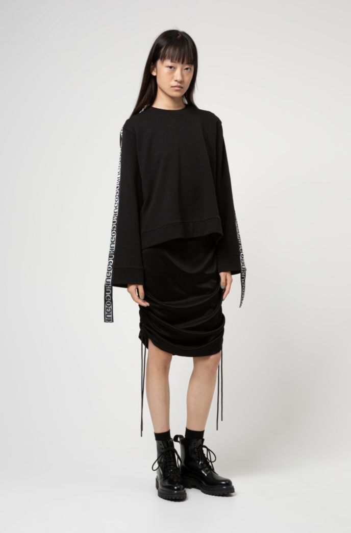 Tube dress in lustrous jersey with adjustable length