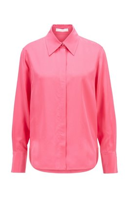 Regular-fit blouse in washed silk with concealed placket, Pink