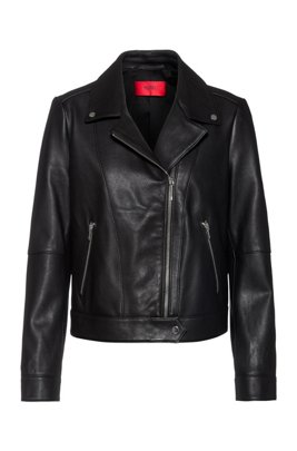 Regular-fit biker jacket in leather with rear slogan, Black