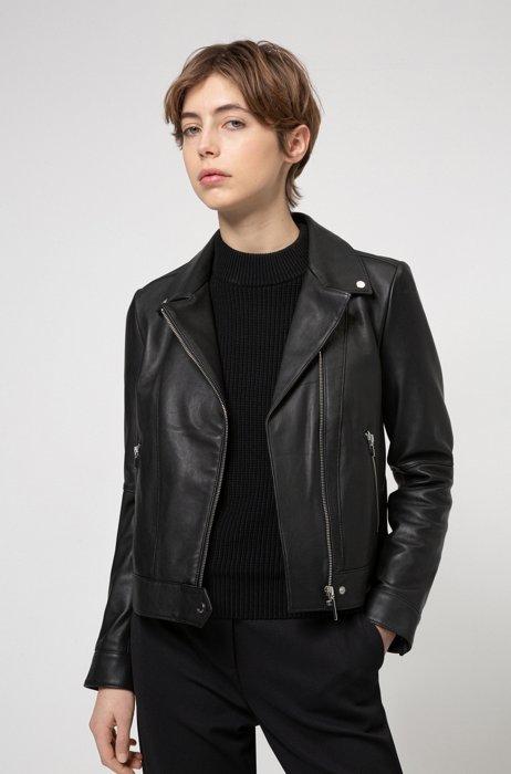 Regular-fit biker jacket in washed-leather , Black