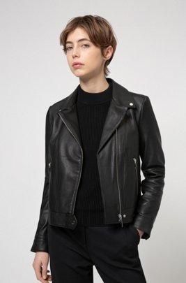 Regular-fit biker jacket in leather with rear slogan, Black