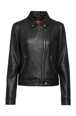 Regular-fit biker jacket in leather with rear slogan, Patterned