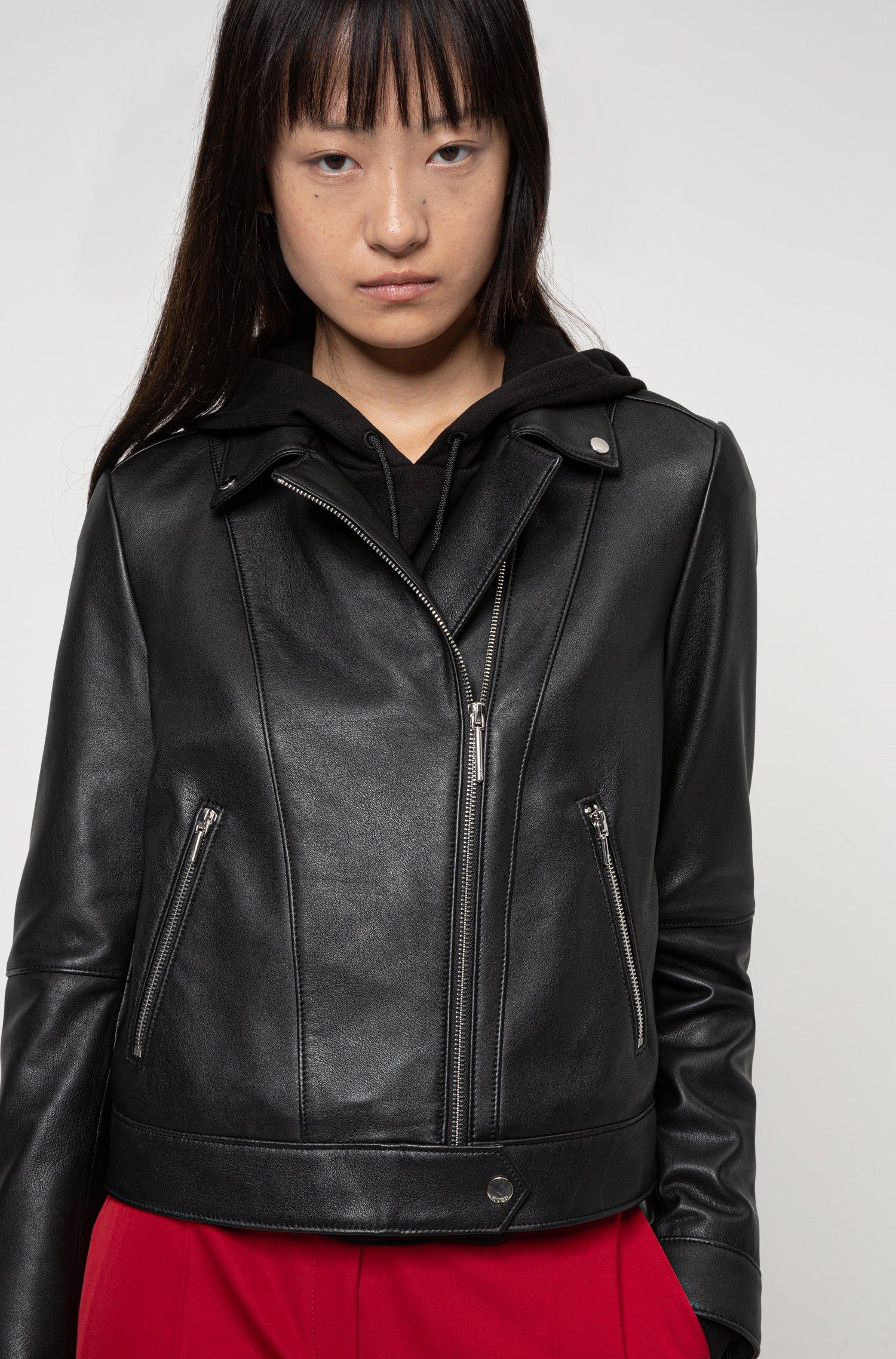 Regular-fit biker jacket in leather with rear slogan, Patterned