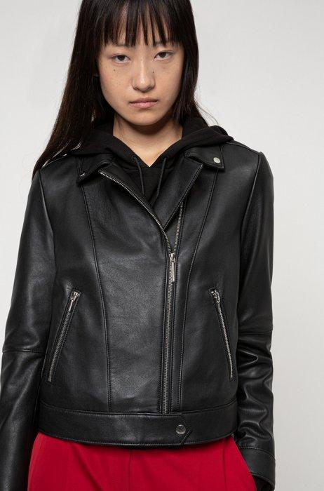 Regular-fit biker jacket in washed-leather , Patterned