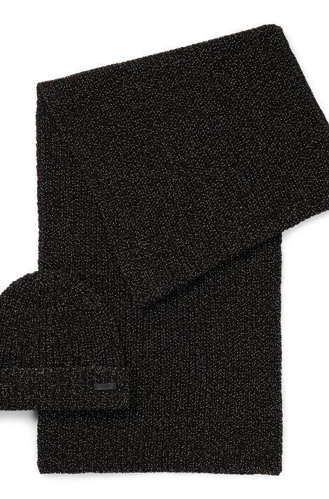 Set de gorro de punto y bufanda en tejido metalizado, Negro