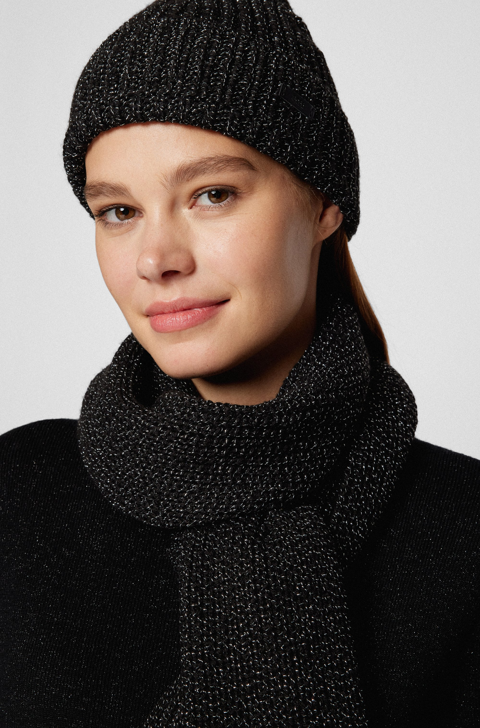 Beanie hat and scarf set in metallised fabric