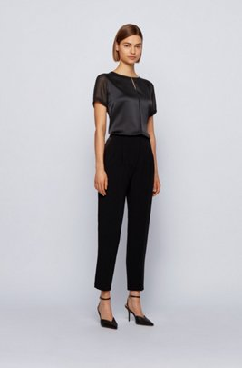 Mixed-material top with hardware-trim keyhole neckline, Black