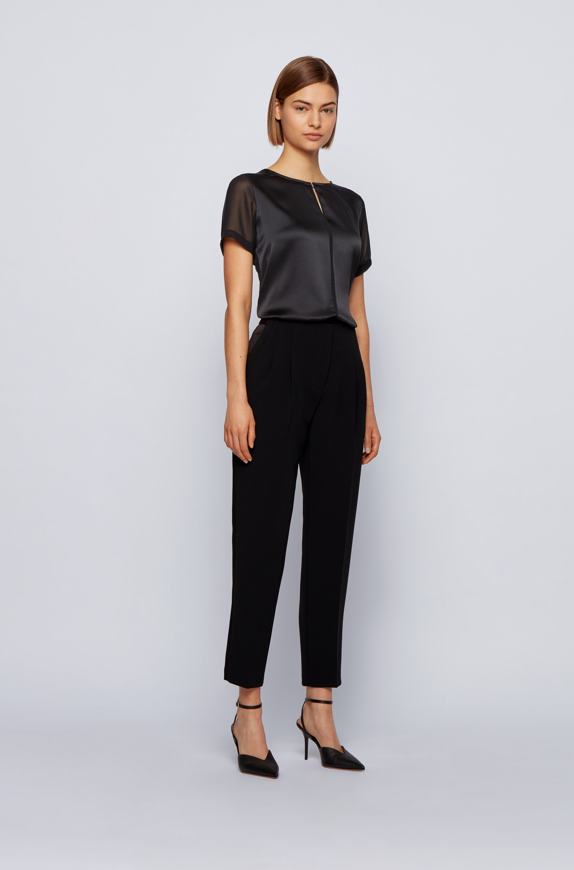 Mixed-material top with hardware-trim keyhole neckline