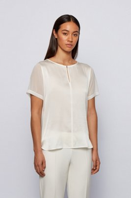 Mixed-material top with hardware-trim keyhole neckline, White