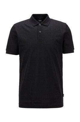 Slim-fit polo shirt in tonal monogram jacquard, Black