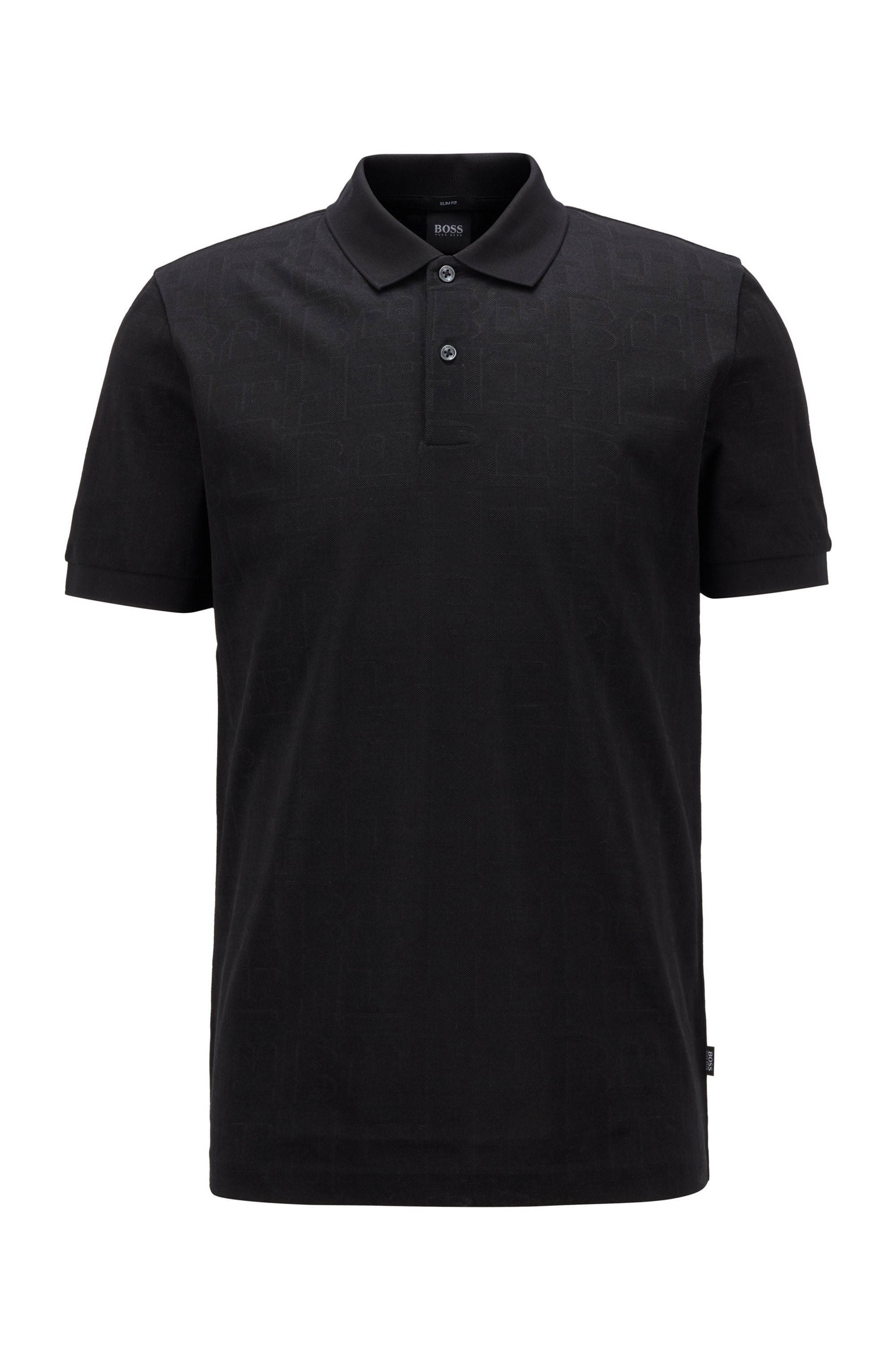 Slim-fit polo shirt in tonal monogram jacquard, Black