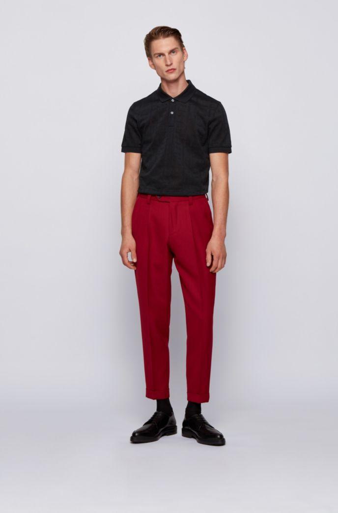 Slim-fit polo shirt in tonal monogram jacquard