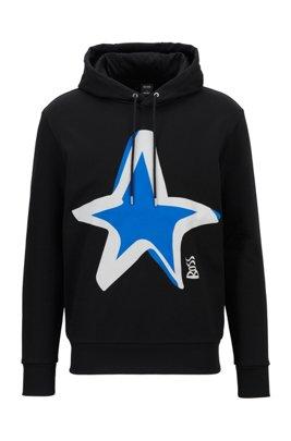 Regular-fit cotton sweatshirt with star motif, Black