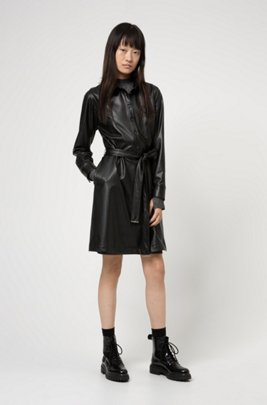 Relaxed-fit shirt dress in faux leather, Black
