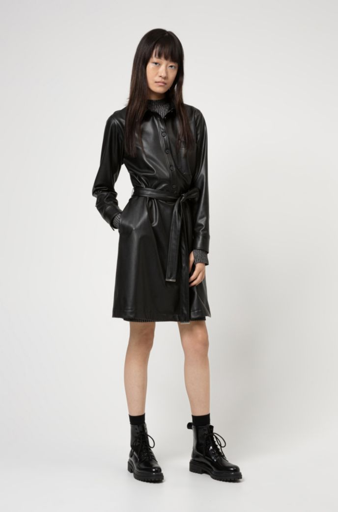 Relaxed-fit shirt dress in faux leather