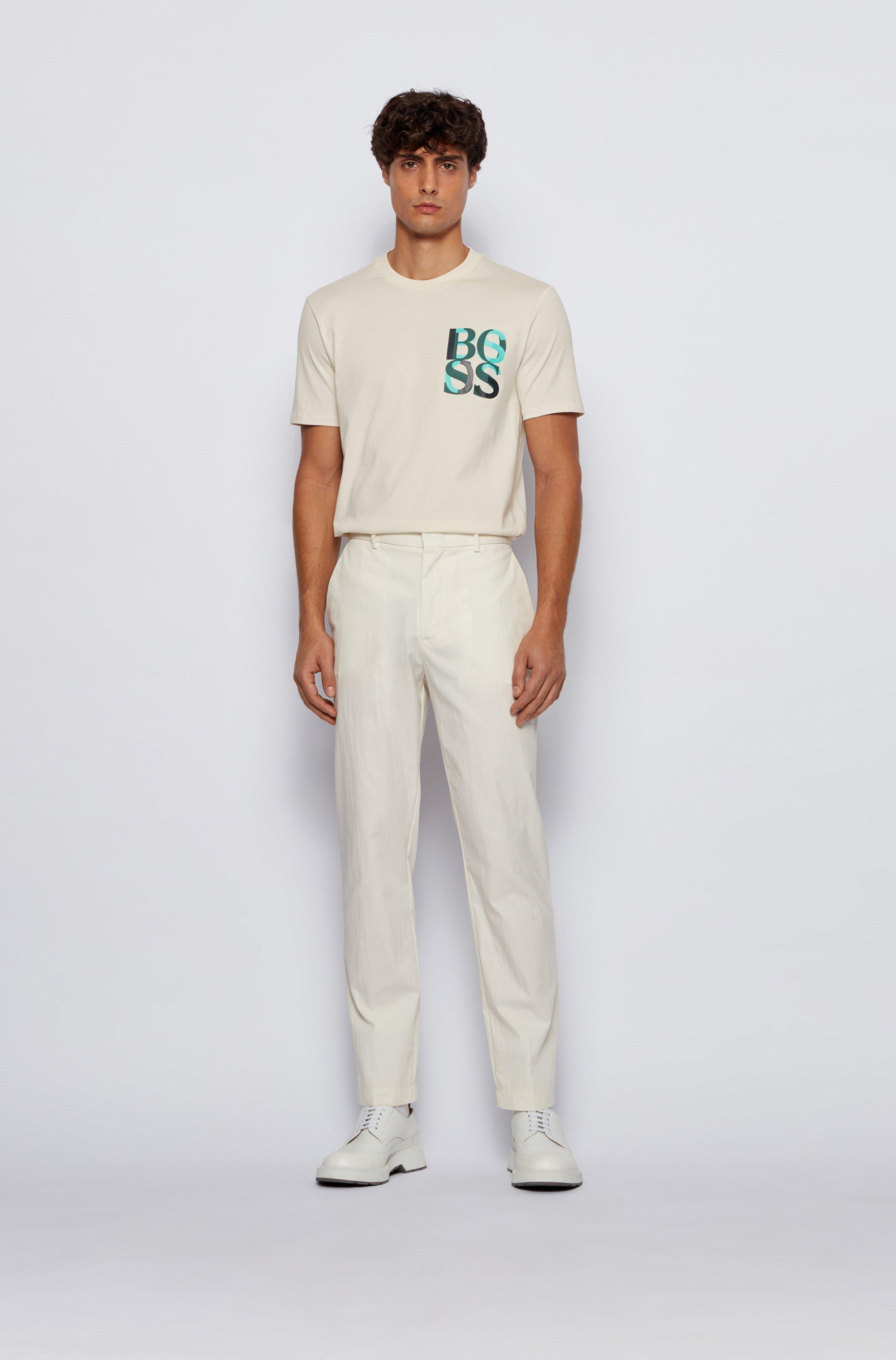 T-shirt en coton mercerisé avec logo imprimé effet superposé