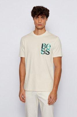 T-shirt en coton mercerisé avec logo imprimé effet superposé, Blanc