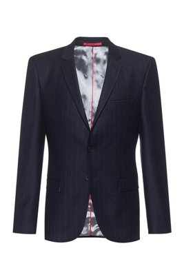 Extra-slim-fit pinstripe jacket in stretch virgin wool, Dark Blue