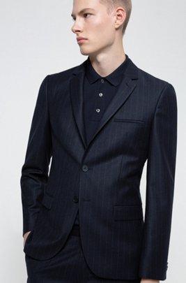 Extra-slim-fit pinstripe jacket in stretch virgin wool, Dark Blue