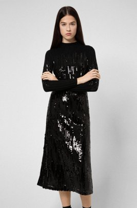 Sequinned midi skirt with high-rise waistband, Black