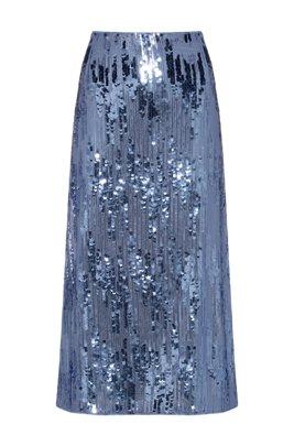 Falda midi de lentejuelas con cintura de talle alto, Azul
