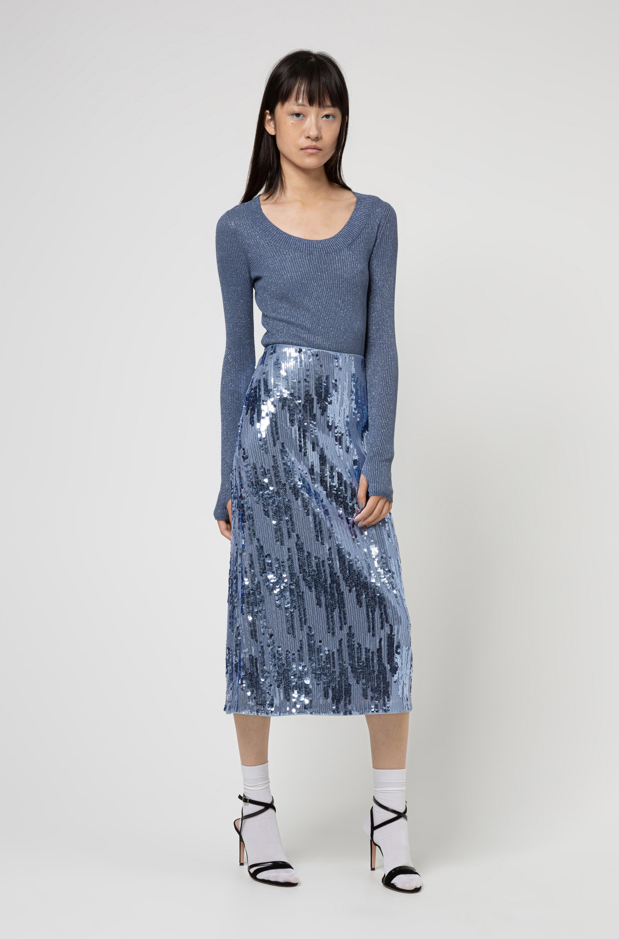 Sequinned midi skirt with high-rise waistband