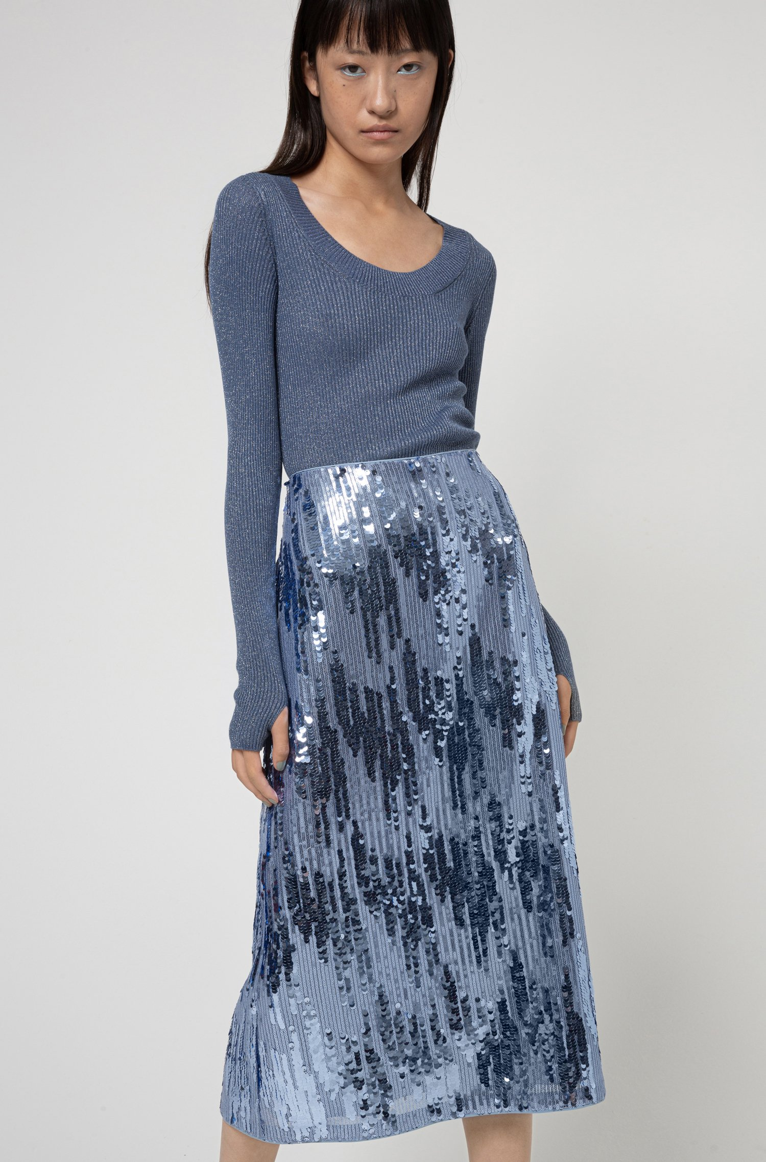 Sequinned midi skirt with high-rise waistband, Blue