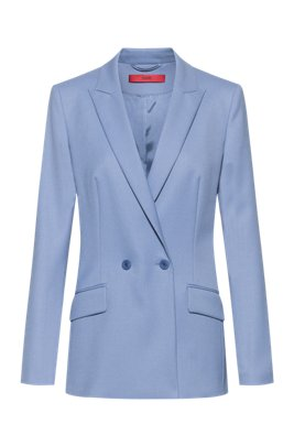 Double-breasted regular-fit jacket with peak lapels, Blue