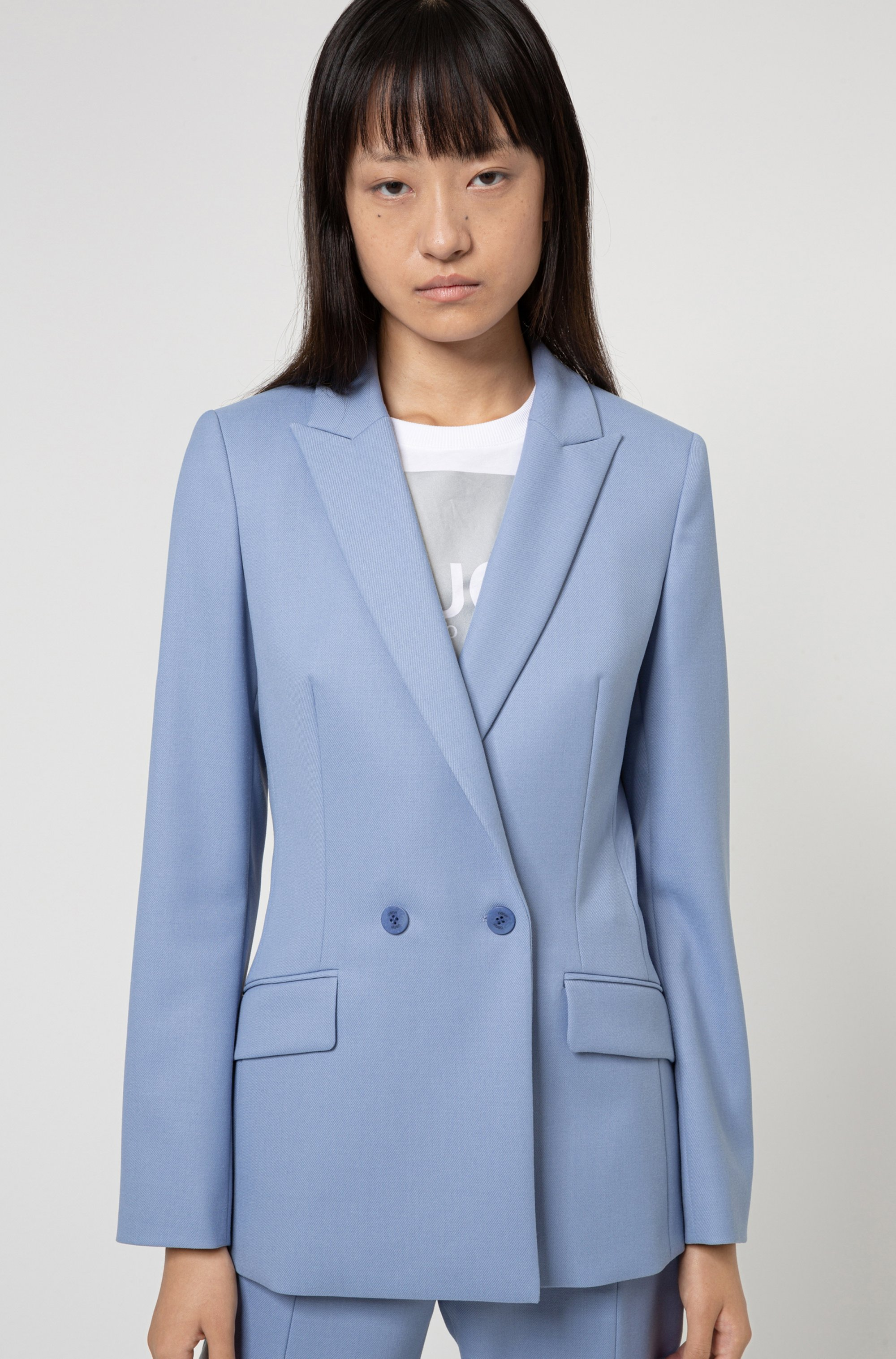 Double-breasted regular-fit jacket with peak lapels