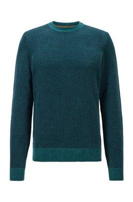 Herringbone-patterned sweater in cotton-blend chenille, Light Green