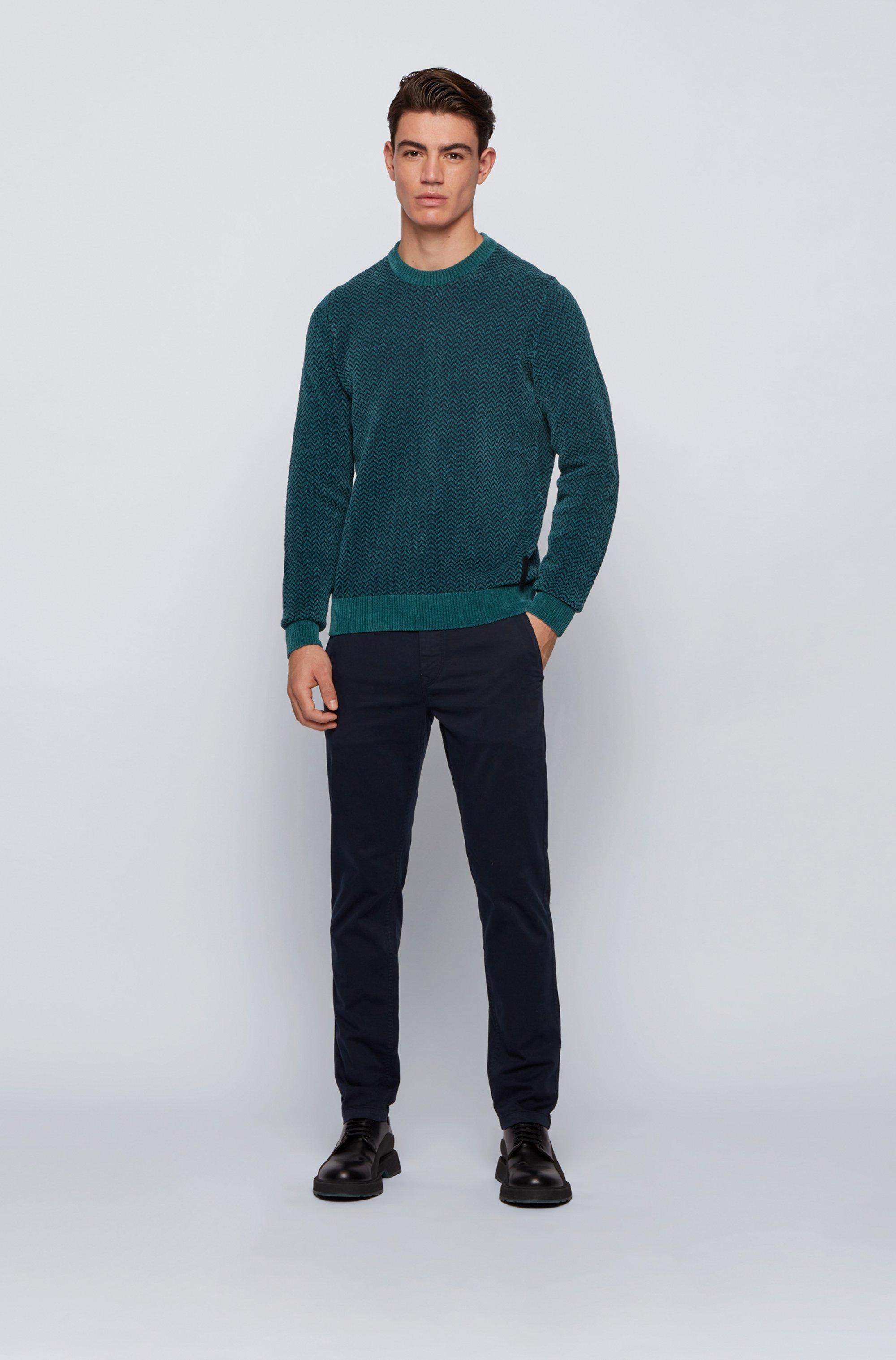 Herringbone-patterned sweater in cotton-blend chenille