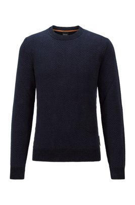 Herringbone-patterned sweater in cotton-blend chenille, Dark Blue