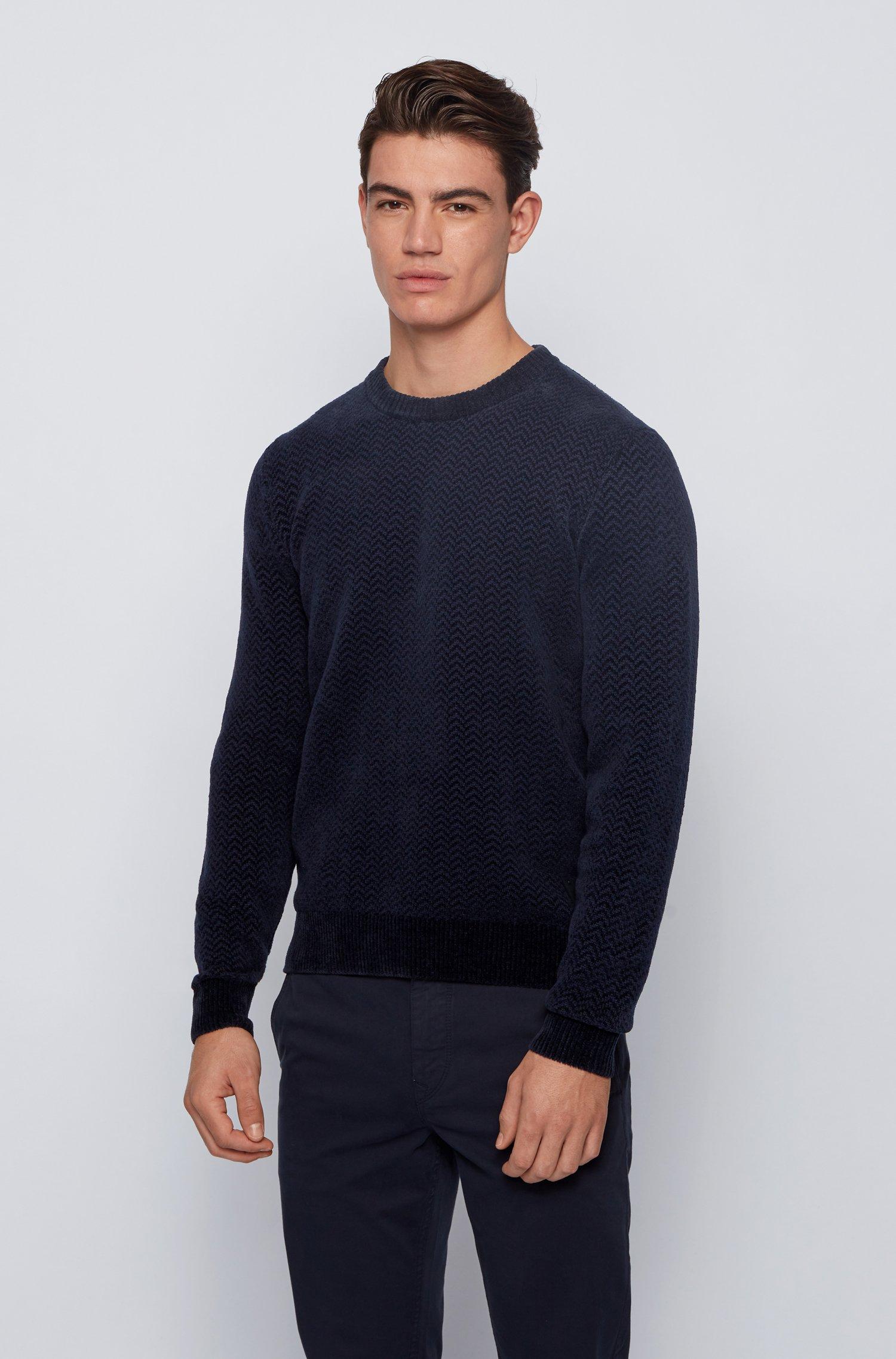 Herringbone-patterned sweater in cotton-blend chenille, Dark Blue