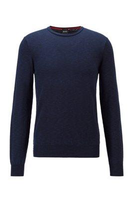 Maglione slim fit in cotone mélange con colletto arrotolato, Blu scuro