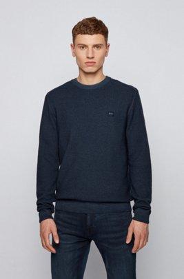 Maglione in lana vergine con finitura tinta in capo, Blu scuro
