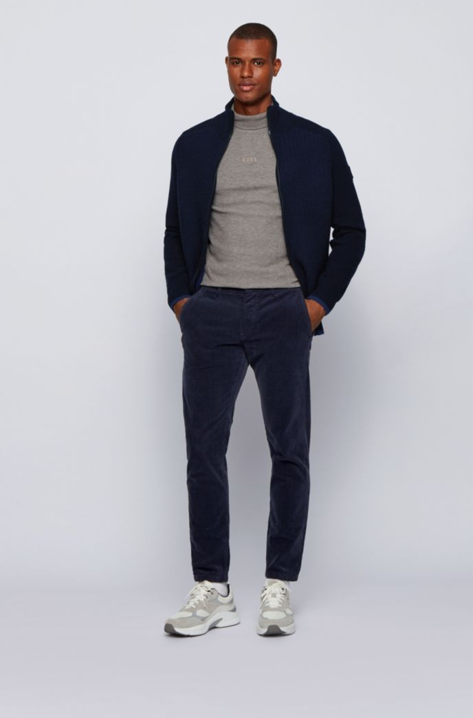 Two-tone-structured wool-blend jacket with stand collar