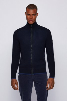 Two-tone-structured wool-blend jacket with stand collar, Dark Blue