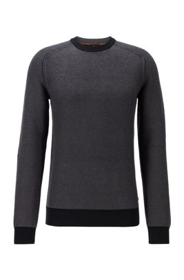 Two-tone crew-neck sweater in cotton-kapok jacquard, Black