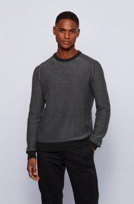 Two-tone crew-neck sweater in cotton-kapok jacquard, Black