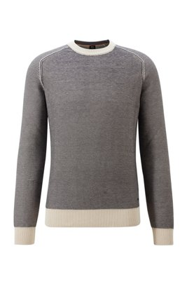 Two-tone crew-neck sweater in cotton-kapok jacquard, Light Beige