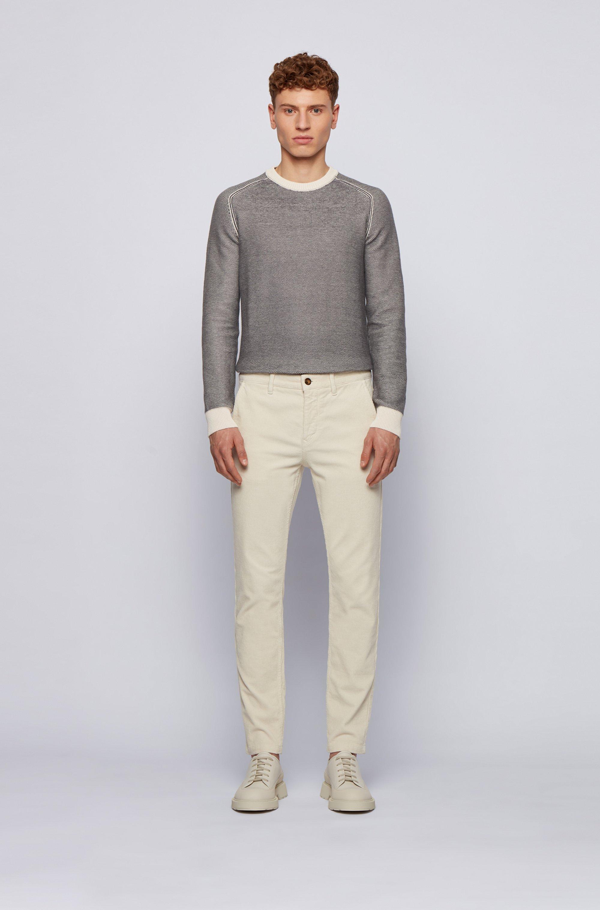 Two-tone crew-neck sweater in cotton-kapok jacquard