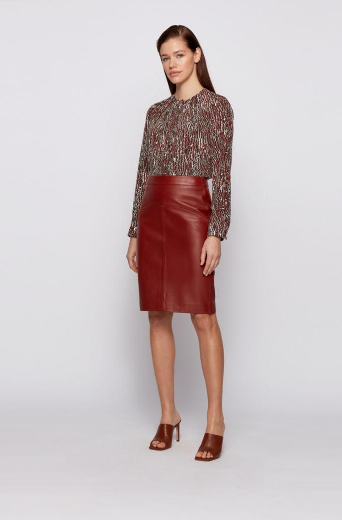 Crocodile-print blouse in pure silk