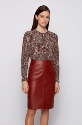 Crocodile-print blouse in pure silk, Brown Patterned