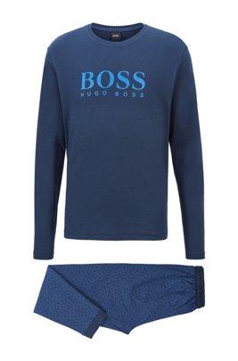 Gift-boxed pyjama set in cotton with logo details, Dark Blue